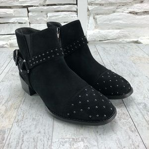 Seychelles VIP Suede Studded Harness Heeled Bootie